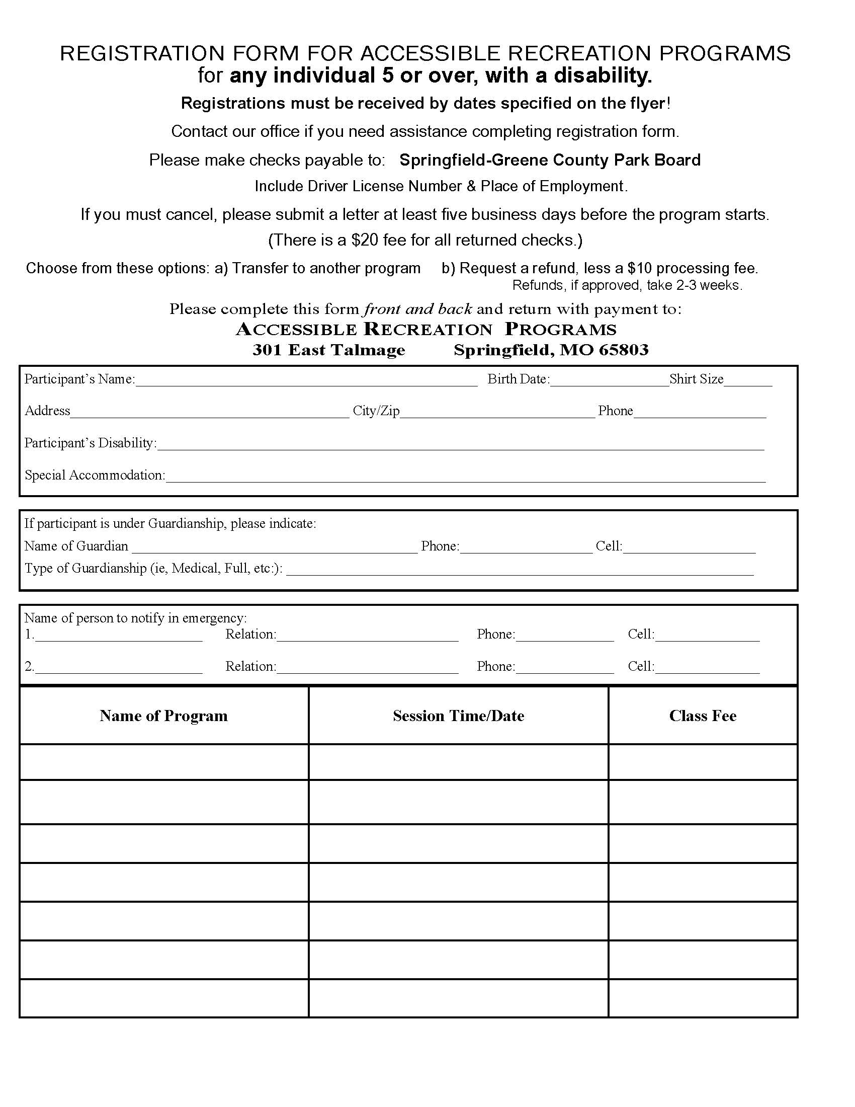 Registration Form for 5 and Up Page 1