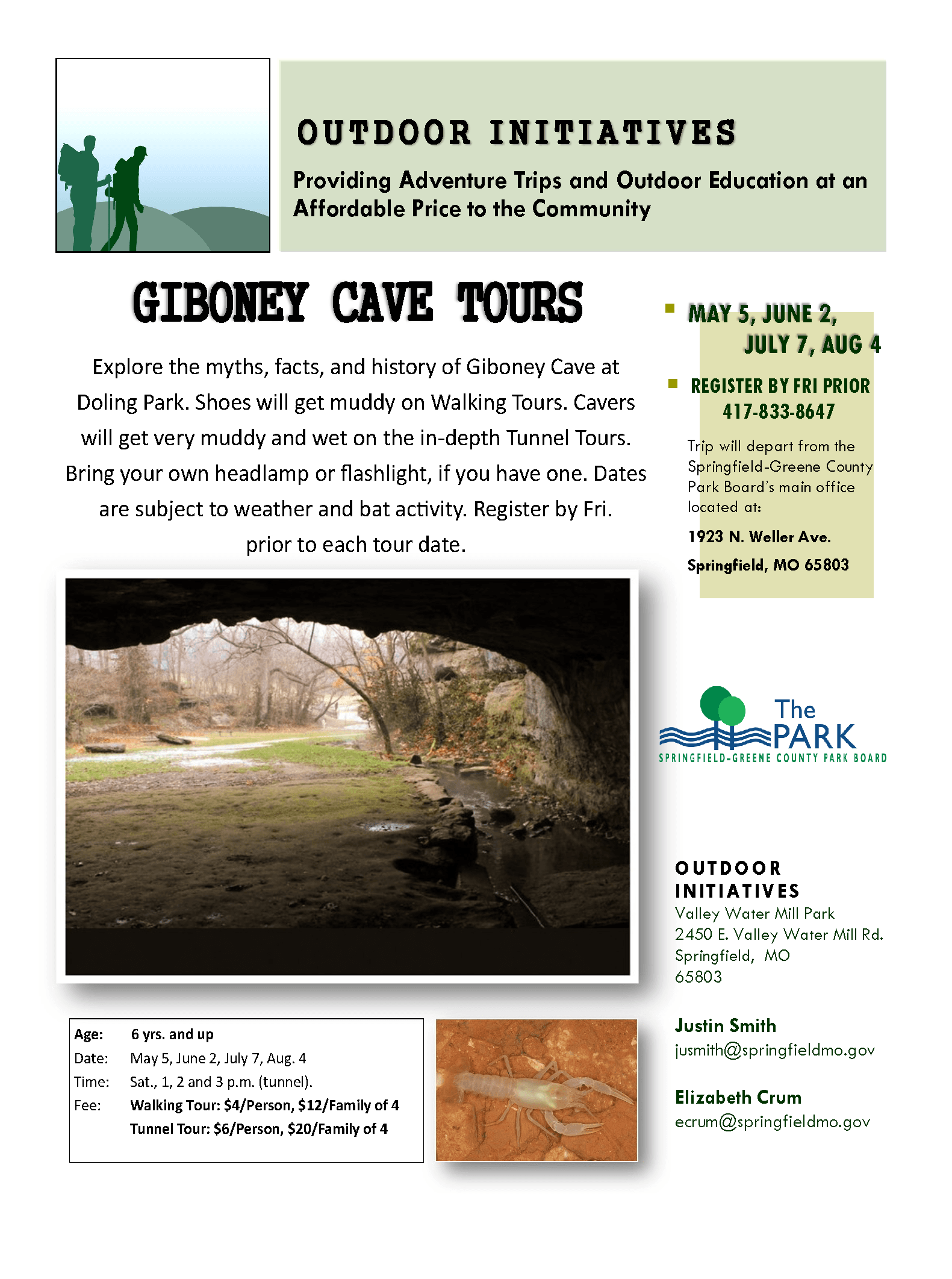 Giboney Cave Tours may-aug 2018